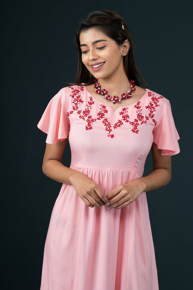 Pretty Floral Embroidered Dress - Peach