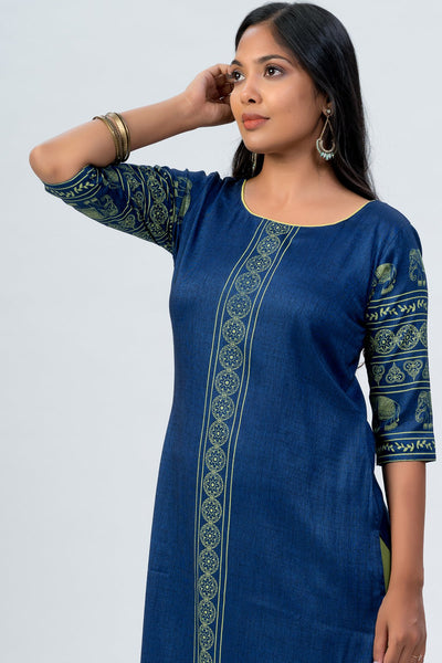 Maybell Elephant printed kurta -Blue