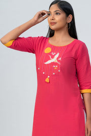 Maybell-Japanese crane embroidered kurta - Pink-4