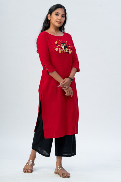 Maybell Owl embroidered kurta- Red2
