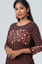 Maybell-Floral printed kurta - Brown-4