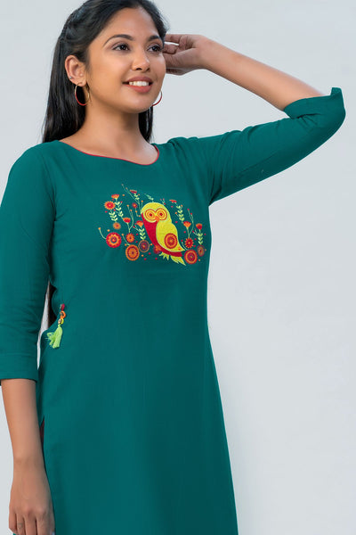 Maybell Owl embroidered kurta- Green
