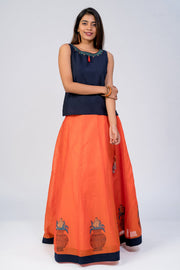 Maybell-Kalasam printed skirt set - Navy Blue & Orange4