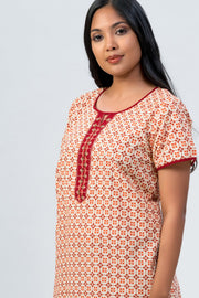 Maybell-All over butta printed nighty -Orange2