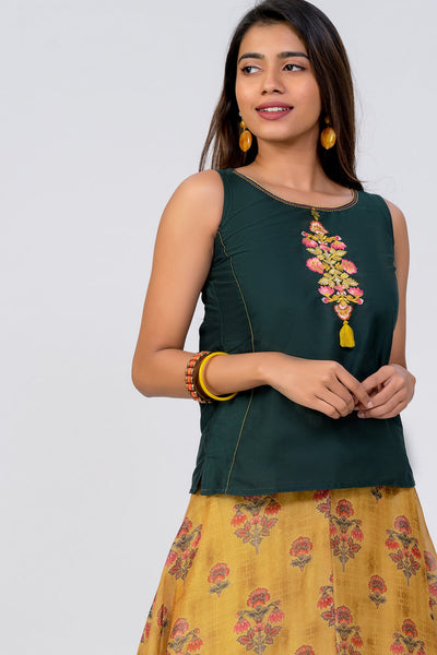 Maybell-Floral printed skirt set - Green & Mustard