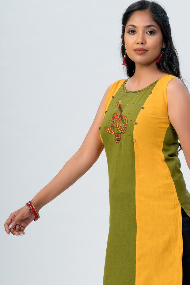 Maybell-Musical instruments embroidered kurta -Olive green and rust orange5