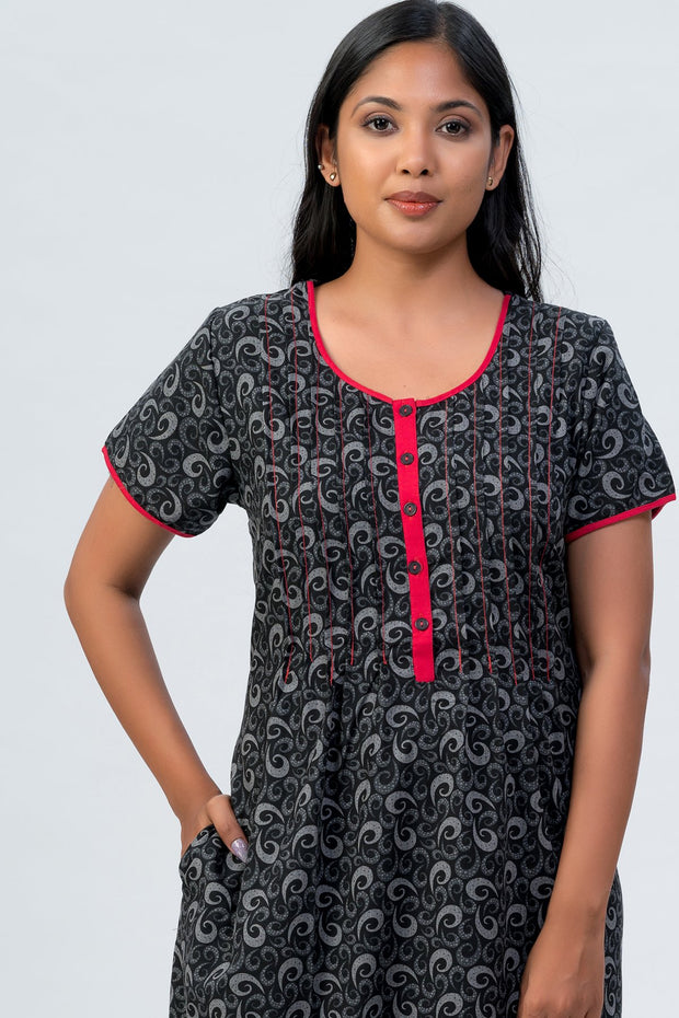 Maybell-All over printed nighty - Black1