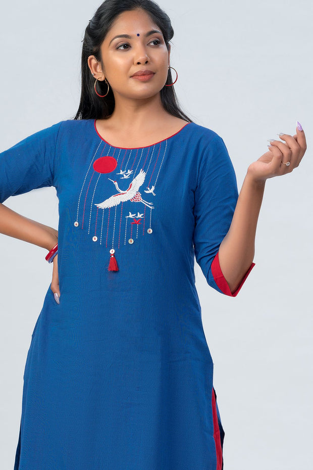 Maybell-Japanese crane embroidered kurta - Blue-2