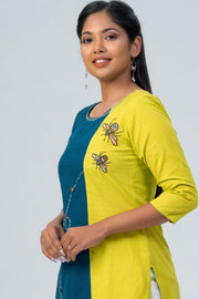 Maybell-Floral printed and honeybee embroidered kurta -Green and blue-3