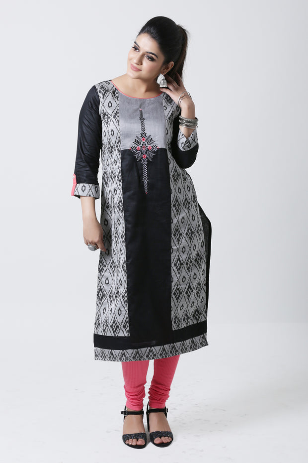Abstract printed kurti - Grey & Black