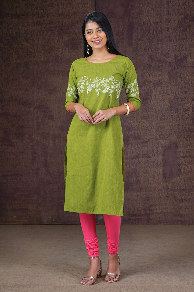 Ditsy Floral Placement Printed Kurta - Green