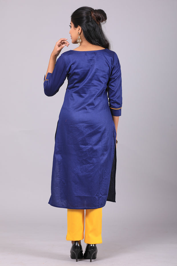 Abstract printed kurti - Navy Blue