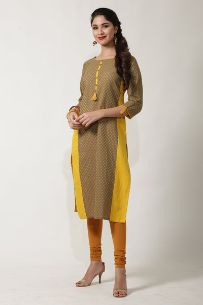 GREY & MUSTARD STRAIGHT CUT DOBBY COTTON KURTA - Maybell Womens Fashion