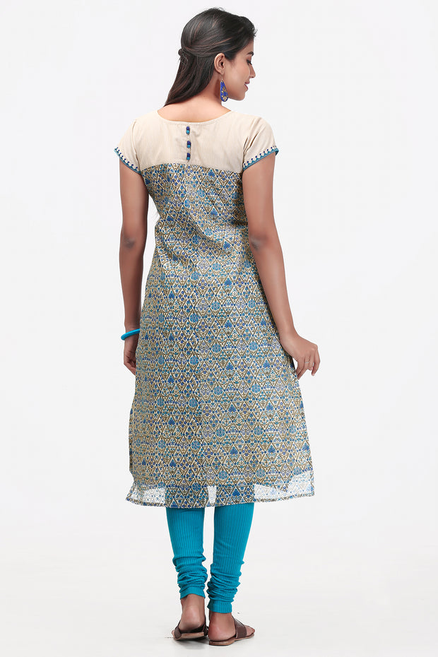 Abstract all over printed Kurta- Blue