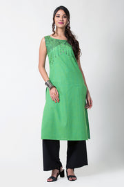 GREEN STRAIGHT CUT CROSS COTTON PRINTED KURTA - Maybell Womens Fashion