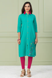 TURQUOISE STRAIGHT CUT SHIRT STYLED COLLAR NECK COTTON KURTA - Sea Green - Maybell Womens Fashion