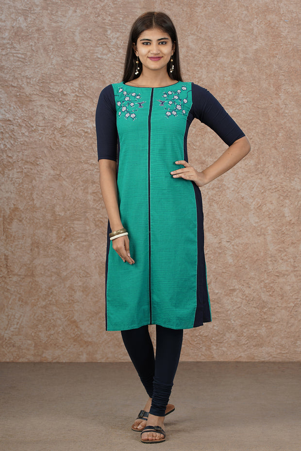 Elegant Placement Embroidered & Paneled Kurta - Turquoise