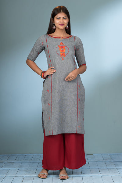 Placement Butterfly Embroidered Kurta - Grey