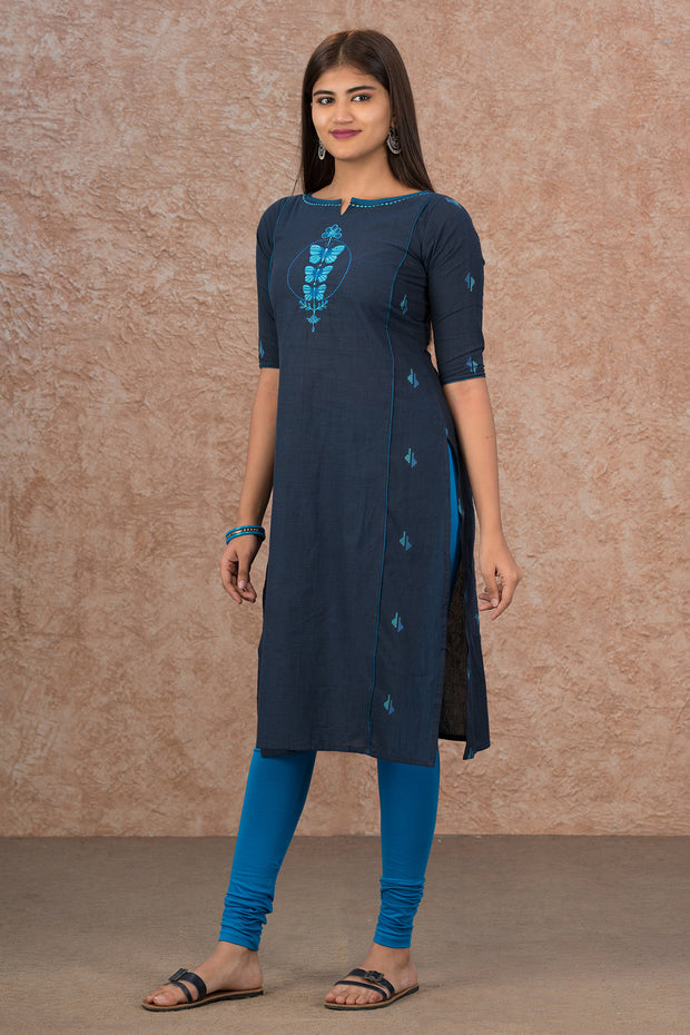 Placement Butterfly Embroidered Kurta - Navy