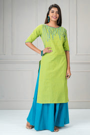 Core plant printed kurtha - Green