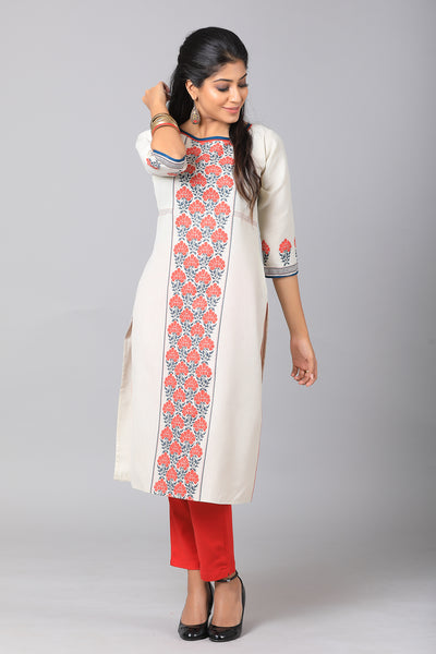 Abstract printed kurti -Off white