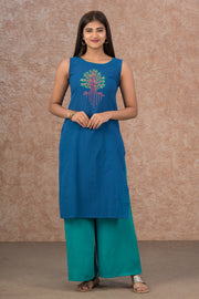 Contemporary Tree Placement Printed Kurta - Blue