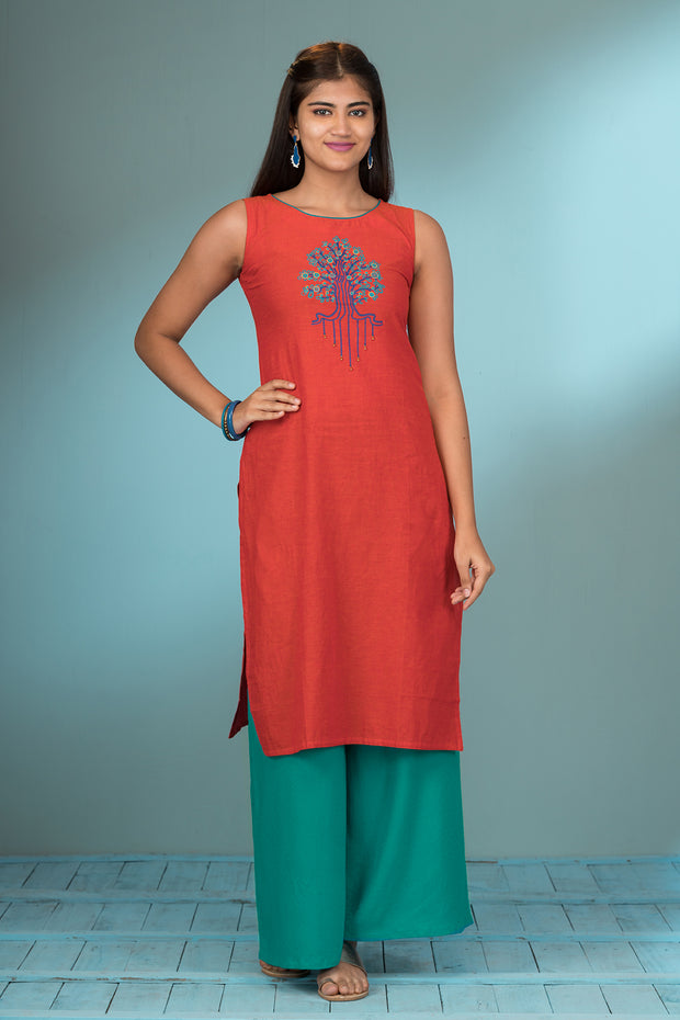 Contemporary Tree Placement Printed Kurta - Peach