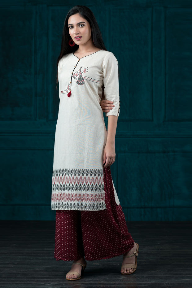 Cross Stitch Peacock Embroidered Kurta - Maroon
