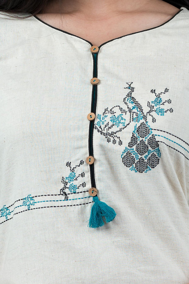 Cross Stitch Peacock Embroidered Kurta - Turquoise