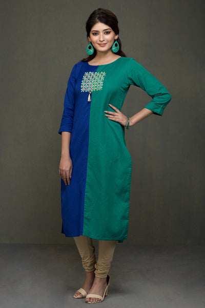 GREEN STRAIGHT CUT CROSS COTTON EMBROIDERED ROUND NECK KURTA - Blue - Maybell Womens Fashion