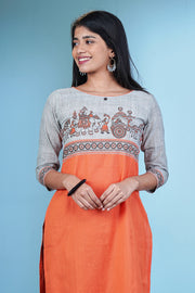 Utsav Chariot Printed & Paneled Kurta - Orange