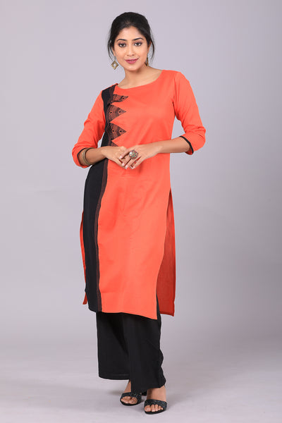 ORANGE AND BLACK STRAIGHT CUT COTTON SATIN GEOMETRICAL EMBROIDERED KURTA - Orange - Maybell Womens Fashion