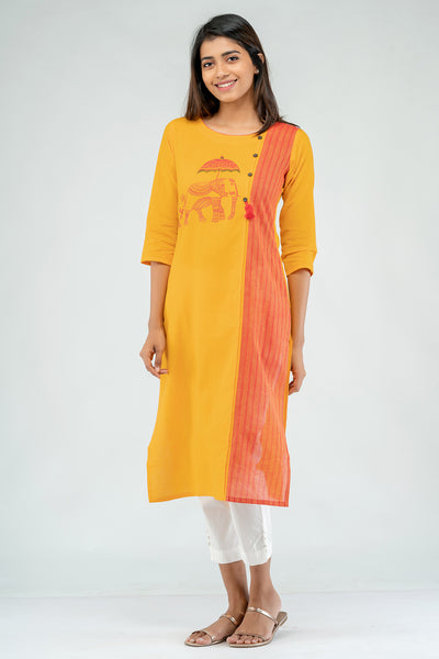 Elephant Printed Paneled Cotton Kurta - Yellow