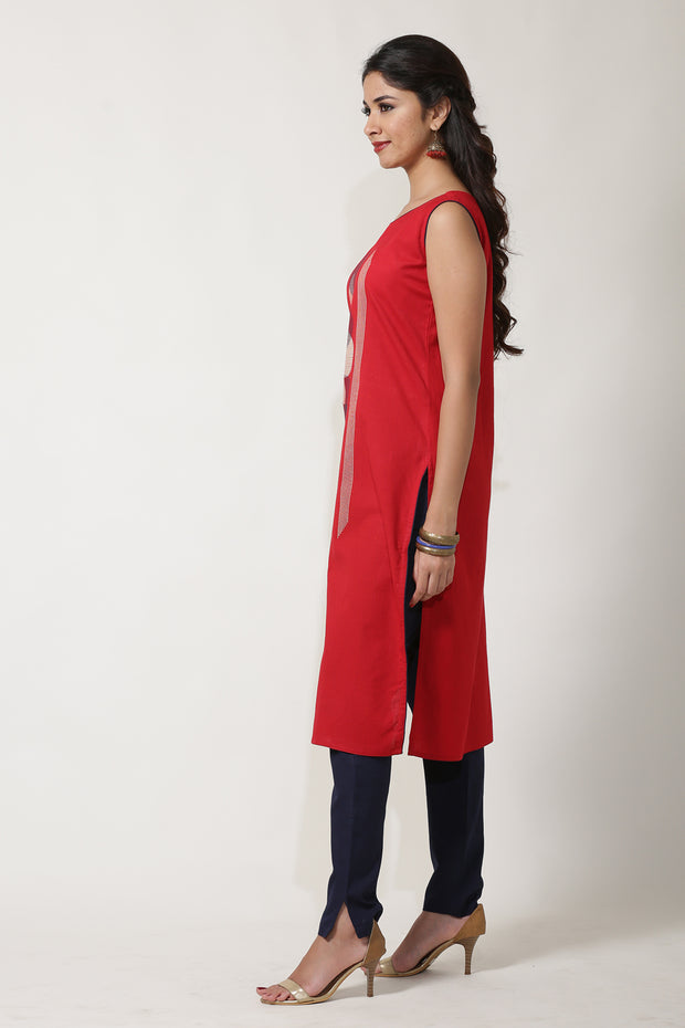 RED DYED FLEX STRAIGHT FIT CIRCLE & LINES KURTA - Maybell Womens Fashion