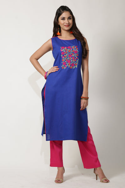 ROYAL BLUE & DARK PINK STRAIGHT FIT DYED FLEX COTTON KURTA - Maybell Womens Fashion