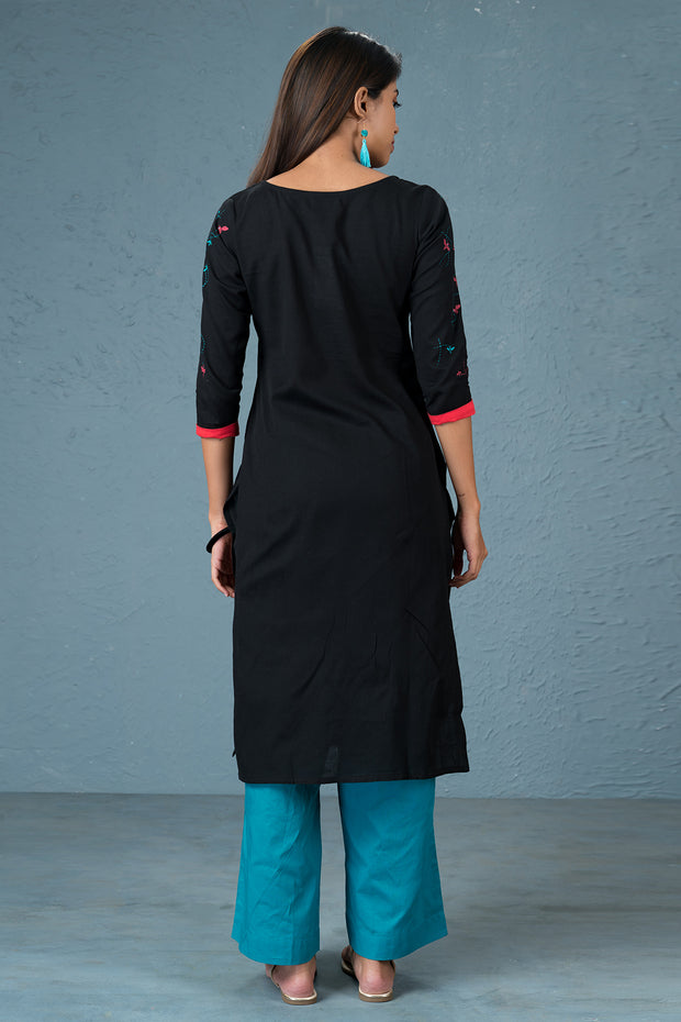 Floral printed kurtha - Black