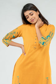 Placement Flora Printed Cotton Kurta - Mustard