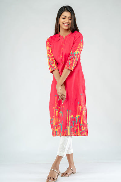 Placement Flora Printed Cotton Kurta - Pink