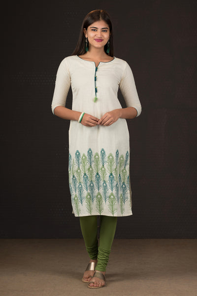 Placement Peacock Feathers Printed Kurta - Off White