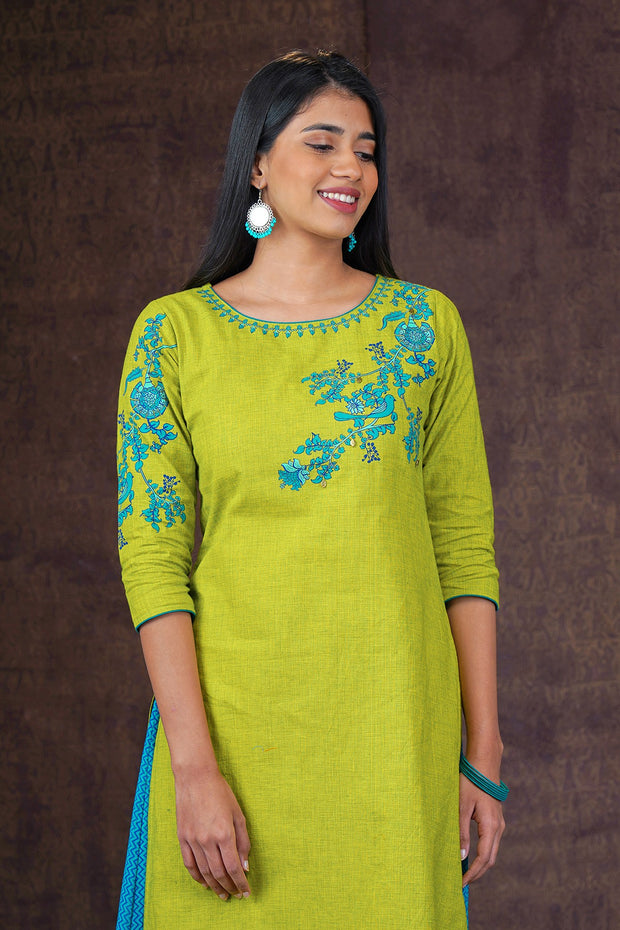 Placement Floral Printed Kurta - Green