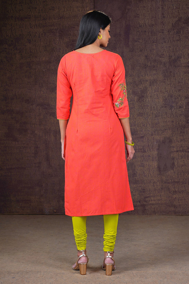 Placement Floral Printed Kurta - Orange
