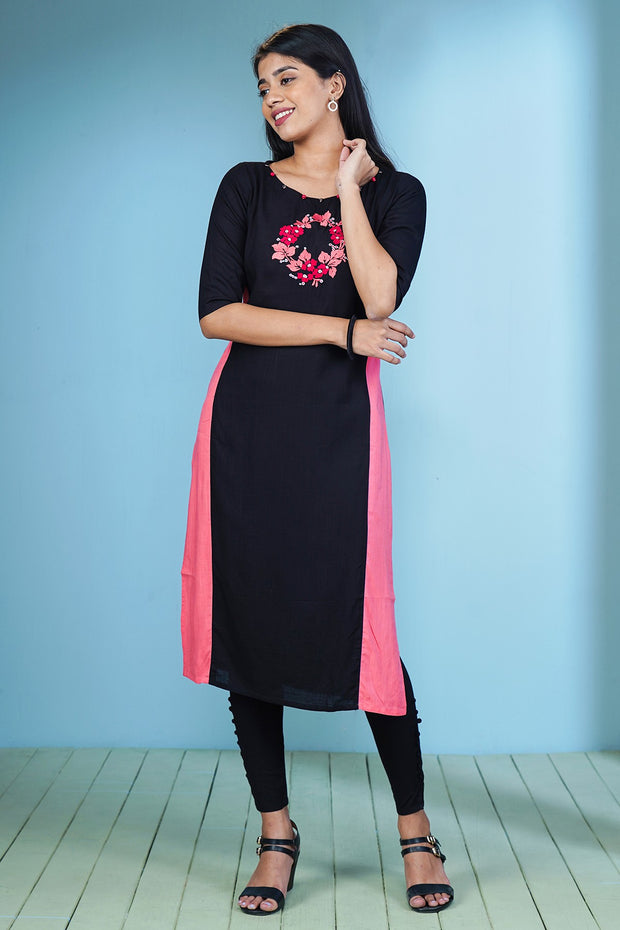 Garden Floral Placement Embroidered Kurta – Black