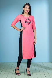 Garden Floral Placement Embroidered Kurta – Pink