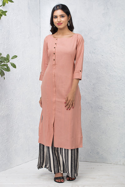 Solid Side Placket Kurta – Blush Pink - Maybell Womens Fashion