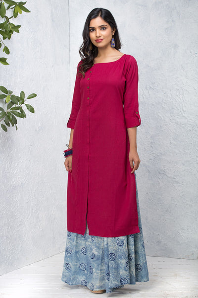 Solid Side Placket Kurta – Magenta - Maybell Womens Fashion