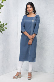 Solid  Kurta – Blue Grey - Maybell Womens Fashion
