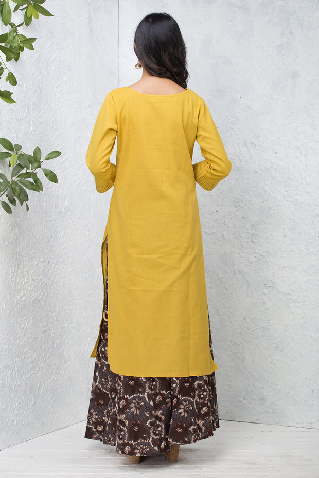 Solid  Kurta –Mustard - Maybell Womens Fashion