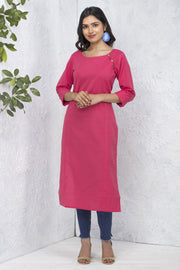Solid Side Button Detailed Kurta – Pink - Maybell Womens Fashion