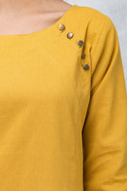 Solid Side Button Detailed Kurta – Yellow - Maybell Womens Fashion