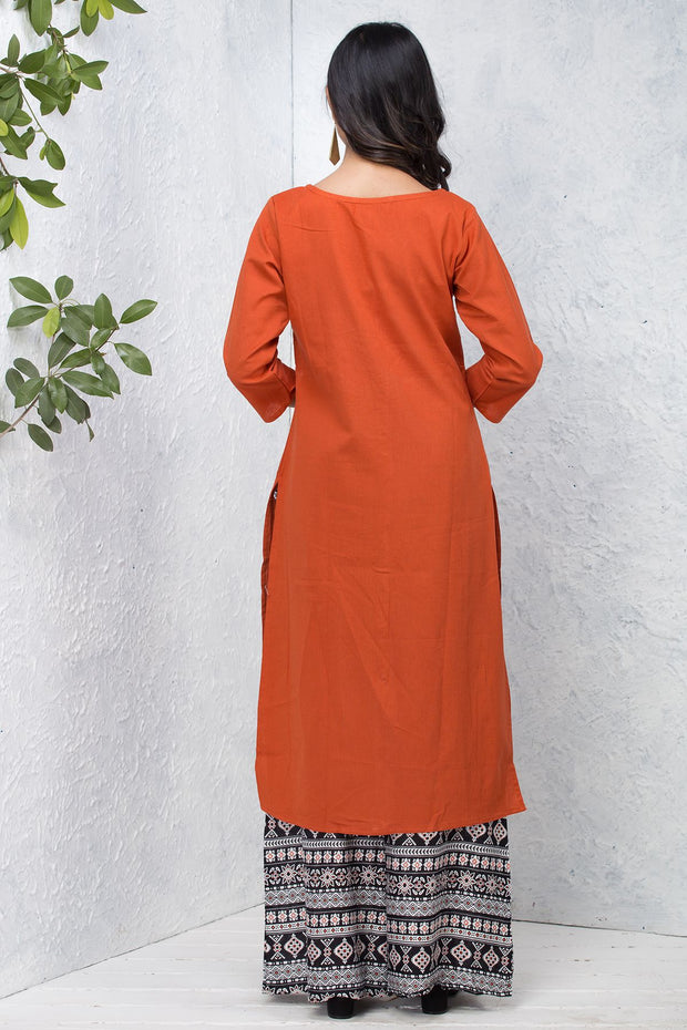Solid Centre Front Button & Pleat Detailed Kurta – Rust - Maybell Womens Fashion